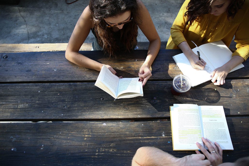 Group of students are studying together
